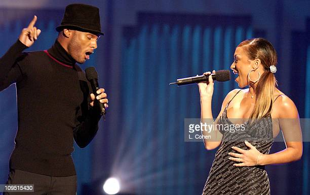 Kenny Lattimore Chante Moore perform during a taping of BET's 2nd Annual Celebration of Gospel on January 26 2002 at the Wiltern Theater in Los...