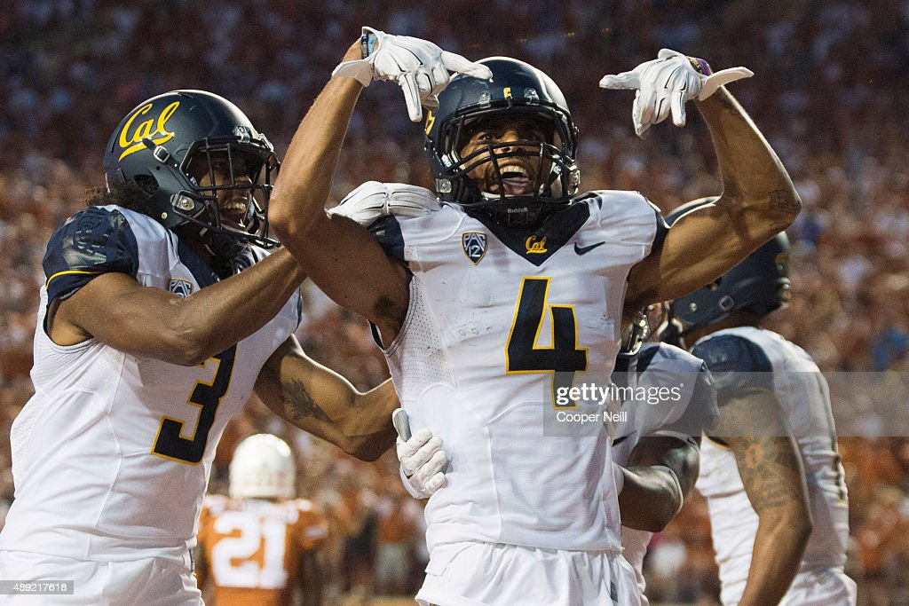 Kenny Lawler #4 of the California Golden Bears celebrates after catching a 17 yard touchdown pass against the Texas Longhorns during the second quarter on September 19, 2015 at Darrell K Royal-Texas Memorial Stadium in Austin, Texas.