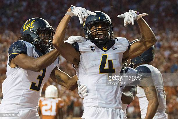Kenny Lawler of the California Golden Bears celebrates after catching a 17 yard touchdown pass against the Texas Longhorns during the second quarter...