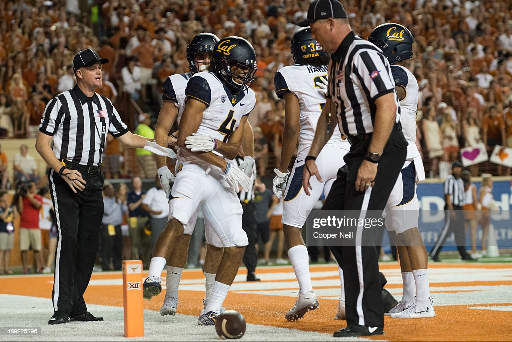 Kenny Lawler #4 of the California Golden Bears celebrates after catching a 4 yard touchdown pass against the Texas Longhorns during the third quarter on September 19, 2015 at Darrell K Royal-Texas Memorial Stadium in Austin, Texas.