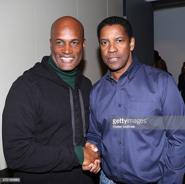 Kenny Leon and Denzel Washington attend the A Raisin In The Sun Cast Press Preview at The Rose Building on February 18 2014 in New York City