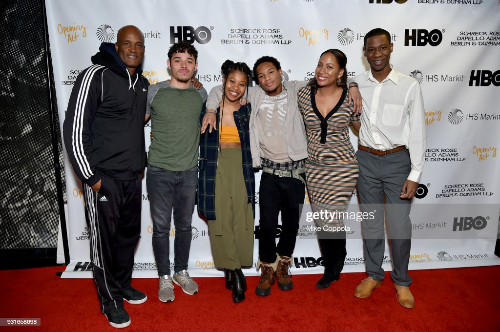 Kenny Leon, Anthony Ramos, Dominique Fishback, Sharif Byer, Natalie Paul, and Jeremiah Thompson attend Opening Act's 12th Annual Benefit Play Reading 'Hear Me Here' At New World Stages on March 13, 2018 in New York City.