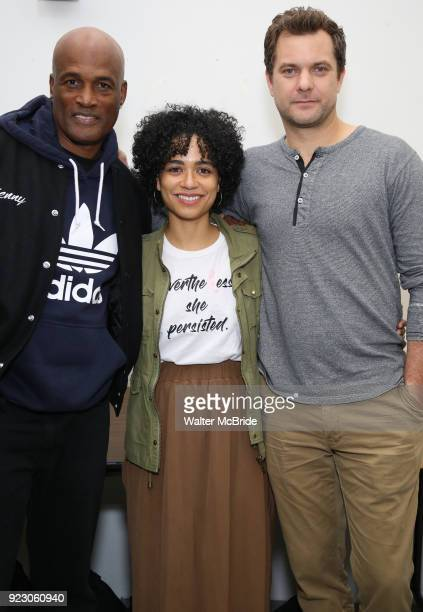 Kenny Leon Julee Cerda and Joshua Jackson attend the cast photo call for the Broadway Revival of 'Children of a Lesser God' on February 22 2018 at...