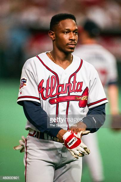 Kenny Lofton of the Atlanta Braves during the game against the Houston Astros at the Astrodome on August 20 1997 in Houston Texas