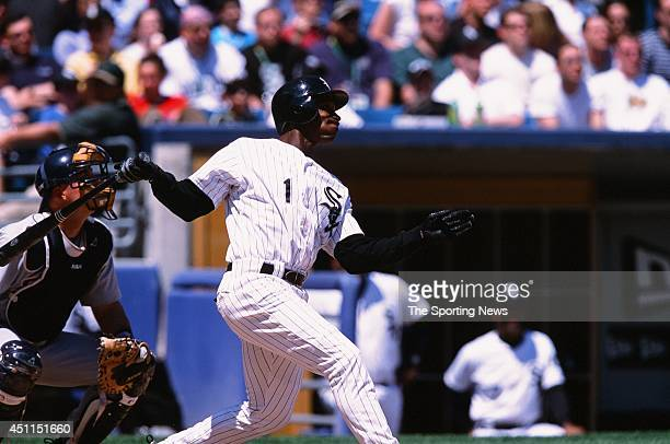 Kenny Lofton of the Chicago White Sox bats against the Detroit Tigers at Comiskey Park in Chicago Illinois on May 26 2002 The Tigers defeated the...