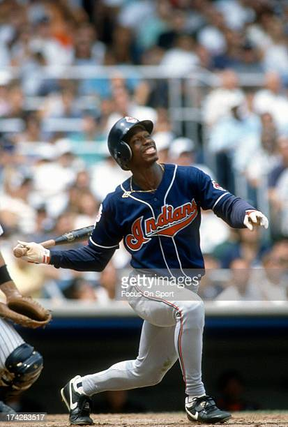 Kenny Lofton of the Cleveland Indians bats against the New York Yankees during an Major League Baseball game circa 1994 at Yankee Stadium in the...