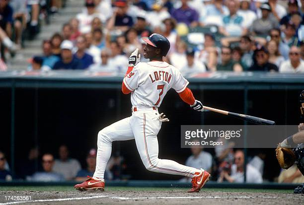 Kenny Lofton of the Cleveland Indians bats during an Major League Baseball game circa 1994 at Cleveland Stadium in Cleveland Ohio Lofton played for...