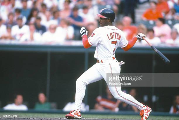 Kenny Lofton of the Cleveland Indians bats during an Major League Baseball game circa 1995 at Cleveland Stadium in Cleveland Ohio Lofton played for...