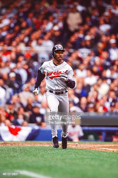 Kenny Lofton of the Cleveland Indians during Game Two of the American League Championship Series against the New York Yankees on October 7 1998 at...