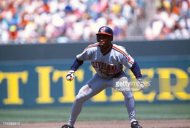 Kenny Lofton of the Cleveland Indians gets a lead off of second base during an Major League Baseball game circa 1992 Lofton played for the Indians...