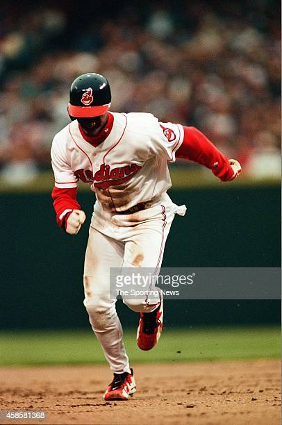 Kenny Lofton of the Cleveland Indians runs against the Detroit Tigers at Comerica Park on May 16 1996 in Detroit Michigan