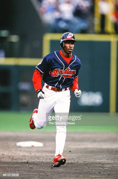 Kenny Lofton of the Cleveland Indians runs the bases during Game Three of the American League Division Series against the Seattle Mariners on October...
