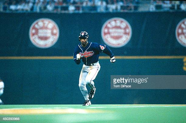 Kenny Lofton of the Cleveland Indians runs to third base during the 67th MLB AllStar game against the National League at Veterans Stadium on Tuesday...