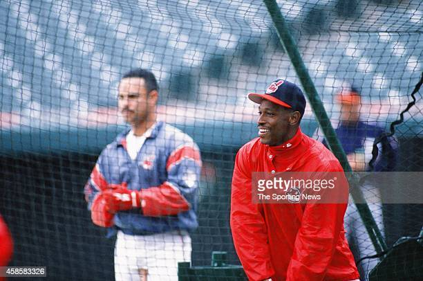 Kenny Lofton of the Cleveland Indians takes batting practice against the Texas Rangers at Progressive Field on May 17 1996 in Cleveland Ohio