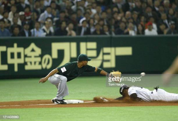 Kenny Lofton of the New York Yankees is safe on a second inning tripleMLB Opening Day the New York Yankees are defeated by the Tampa Bay Devil Rays...
