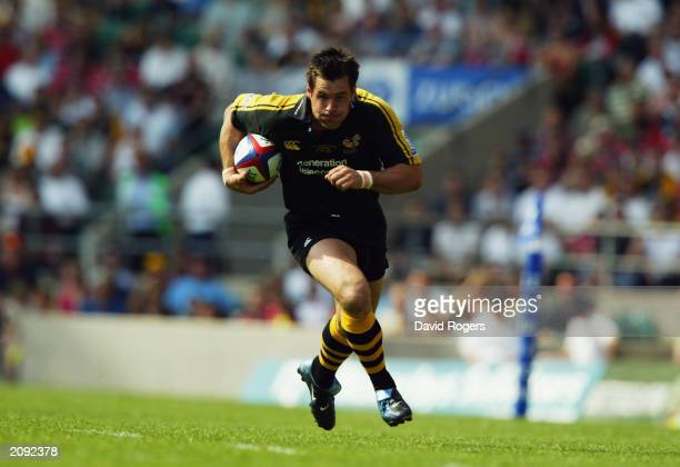 Kenny Logan of Wasps makes a break during the Zurich Premiership Final between Gloucester and London Wasps on May 31 2003 at Twickenham in London...