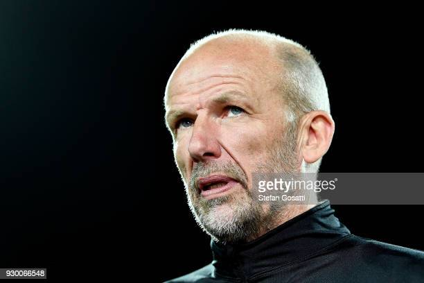 Kenny Lowe coach of Perth Glory during the round 22 ALeague match between the Perth Glory and the Central Coast Mariners at nib Stadium on March 10...