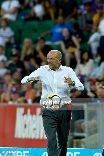 Kenny Lowe coach of Perth Glory reacts during the round 18 ALeague match between the Perth Glory and the Western Sydney Wanderers at nib Stadium on...