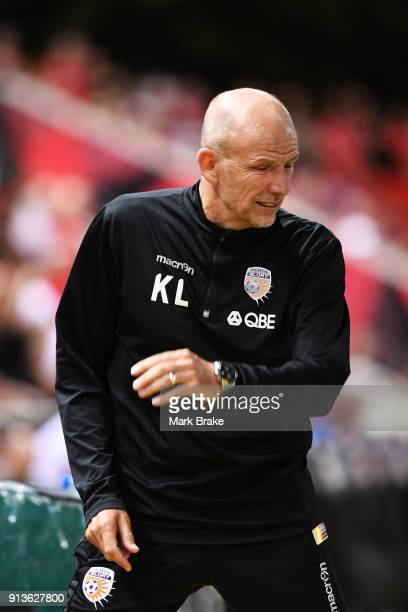 Kenny Lowe head coach of Perth Glory during the round 19 ALeague match between Adelaide United and the Perth Glory at Coopers Stadium on February 3...