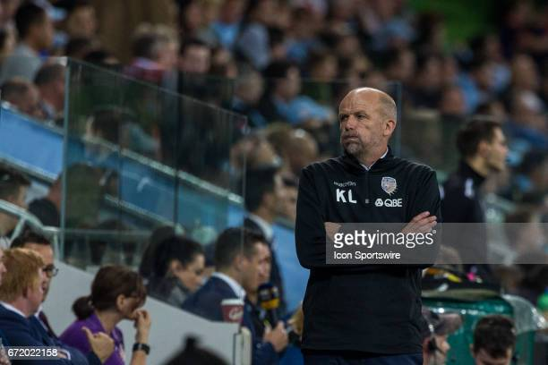 Kenny Lowe Head Coach of Perth Glory watches a reply looking bored during the Elimination Round of the Hyundai ALeague Finals Series between Perth...