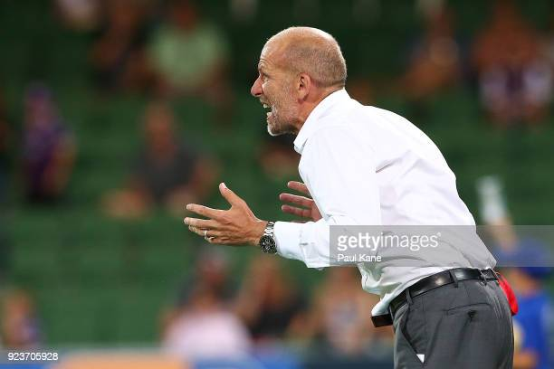 Kenny Lowe head coach of the Glory calls to his players during the round 21 ALeague match between the Perth Glory and Melbourne City FC at nib...
