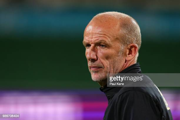 Kenny Lowe head coach of the Glory looks on following the round 25 ALeague match between the Perth Glory and Sydney FC at nib Stadium on March 29...