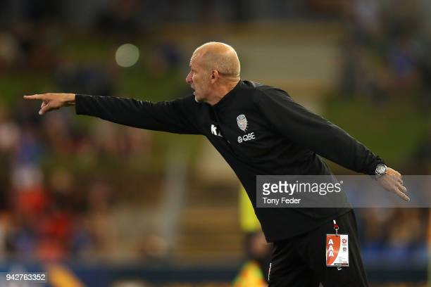 Kenny Lowe of the Glory during the round 26 ALeague match between the Newcastle Jets and the Perth Glory at McDonald Jones Stadium on April 6 2018 in...