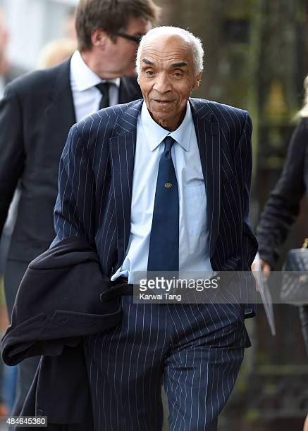 Kenny Lynch attends the funeral of Cilla Black at St Mary's Catholic Church on August 20 2015 in Liverpool England