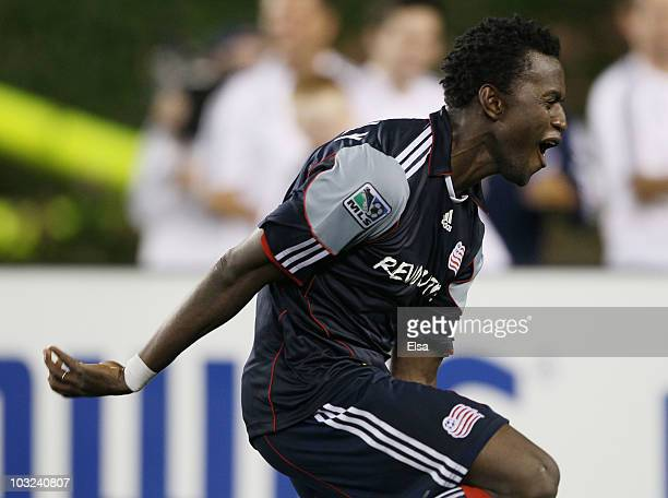 Kenny Mansally of the New England Revolution celebrates after he kicked the game winning goal in the overtime penalty kicks during the SuperLiga 2010...