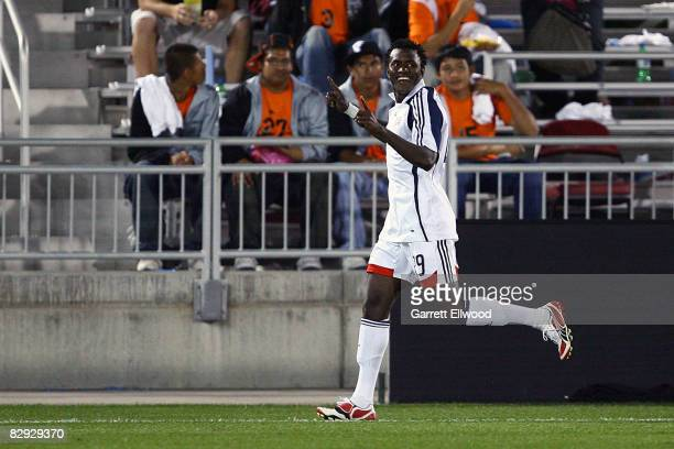 Kenny Mansally of the New England Revolution celebrates his goal against the Colorado Rapids on September 20 2008 at Dicks Sporting Goods Park in...