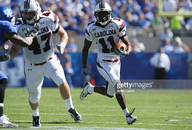 Kenny McKinley of the South Carolina Gamecocks runs the ball against the Kentucky Wildcats during the game at Commonwealth Stadium on October 11 2008...