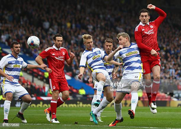 Kenny McLean of Aberdeen sees his shot hiit the post during the Betfred Cup SemiFinal match between Greenock Morton and Aberdeen at Hampden Park on...