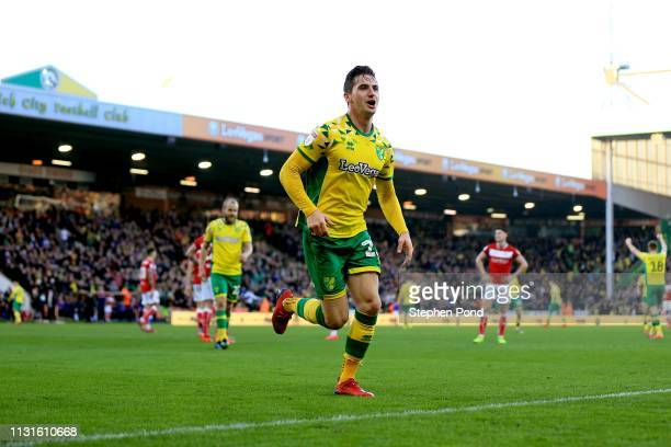 Kenny McLean of Norwich City celebrates scoring his second goal of the game during the Sky Bet Championship match between Norwich City and Bristol...