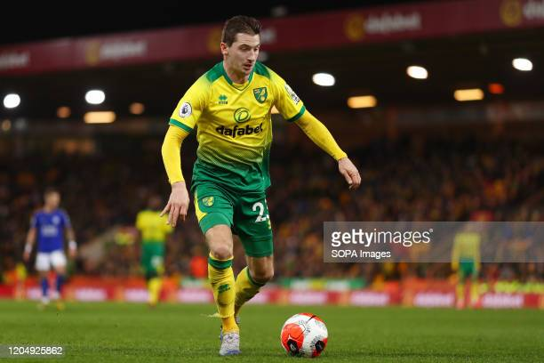 Kenny McLean of Norwich City in action during the Premier League match between Norwich City and Leicester City at Carrow Road Final Score Norwich...
