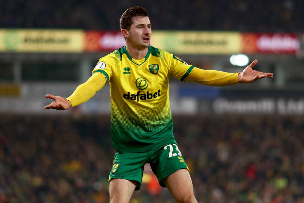 Kenny McLean of Norwich City reacts during the Premier...