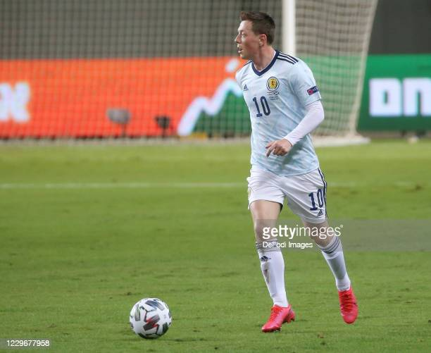 Kenny McLean of Scotland controls the ball during the UEFA Nations League group stage match between Israel and Scotland at Netanya Stadium on...