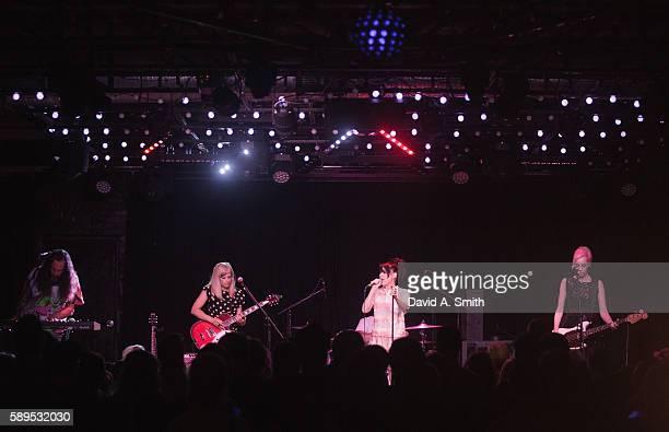 Kenny Mellman Sara Landeau Kathleen Hanna and Kathi Wilcox of The Julie Ruin perform at Saturn Birmingham on August 14 2016 in Birmingham Alabama