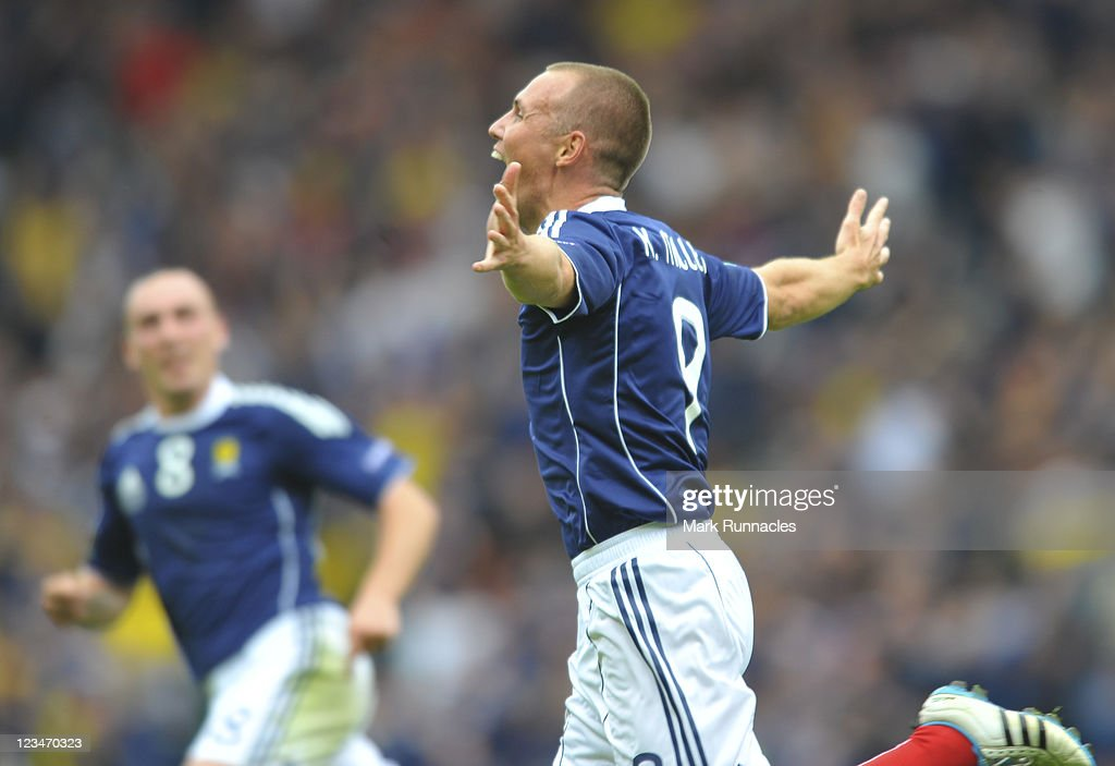 Kenny Miller celebrates scoring his team's opening goal during the UEFA EURO 2012 Group I Qualifying match between Scotland and Czech Republic at Hampden Park on September 03, 2011 in Glasgow, Scotland.