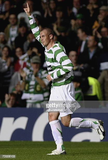 Kenny Miller of Celtic celebrates after scoring during the UEFA Champions League match between Celtic and FC Copenhagen at Celtic Park September 26...