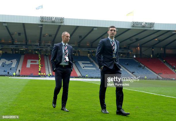 Kenny Miller of Rangers and Lee Wallace of Rangers take a look around the pitch prior to the Scottish Cup Semi Final match between Rangers and Celtic...