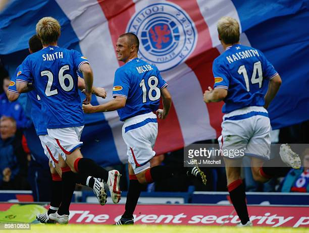 Kenny Miller of Rangers celebrates after scoring against Falkirk during the Scottish Premier League match between Rangers and Falkirk at Ibrox...