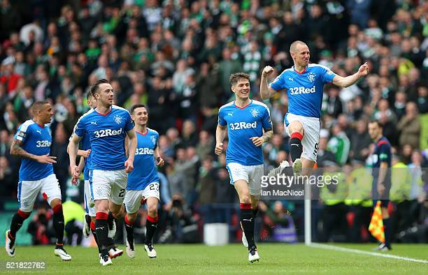 Kenny Miller of Rangers celebrates after scoring the opening goal of the game during the William Hill Scottish Cup semi final between Rangers and...