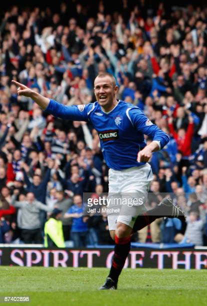 Kenny Miller of Rangers celebrates after scoring their second goal during the Scottish Premier League match between Rangers and Aberdeen at Ibrox...