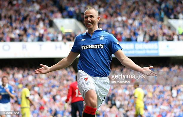 Kenny Miller of Rangers celebrates his goal during the Clydesdale Bank Scottish Premier League match between Glasgow Rangers and Kilmarnock at Ibrox...