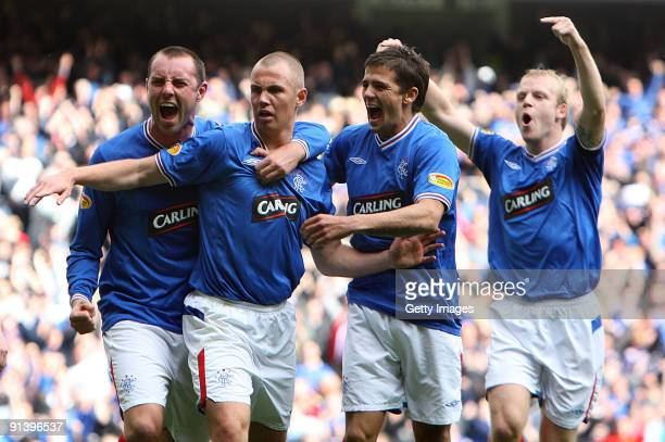 Kenny Miller of Rangers celebrates his second goal with Kris Boyd Nacho Novo and Steven Naismith during the Clysdale Bank Scottish Premier League...