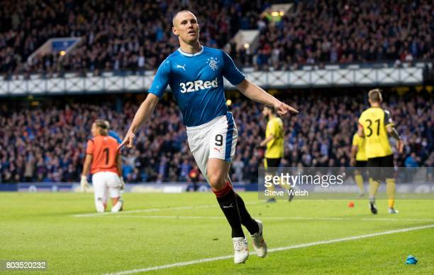 Kenny Miller of Rangers celebrates Rangers first goal during the UEFA Europa League first qualifying round match between Rangers and Progres...