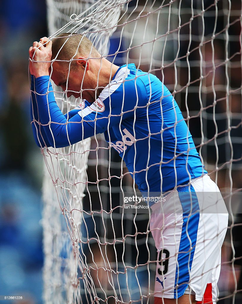 Kenny Miller of Rangers reacts after a miss during the Scottish Championship match between Rangers and St. Mirren at Ibrox Stadium on February 27, 2016 in Glasgow, Scotland.