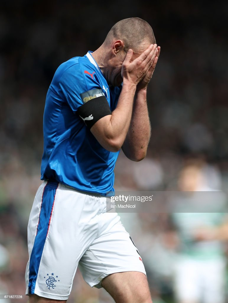 Kenny Miller of Rangers reacts after missing a chance during the Scottish Cup Semi-Final match between Celtic and Rangers at Hampden Park on April 23, 2017 in Glasgow, Scotland.