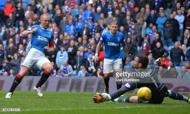 Kenny Miller of Rangers scores a consolation goal late in the second half during the Ladbrokes Scottish Premiership match between Rangers FC and...