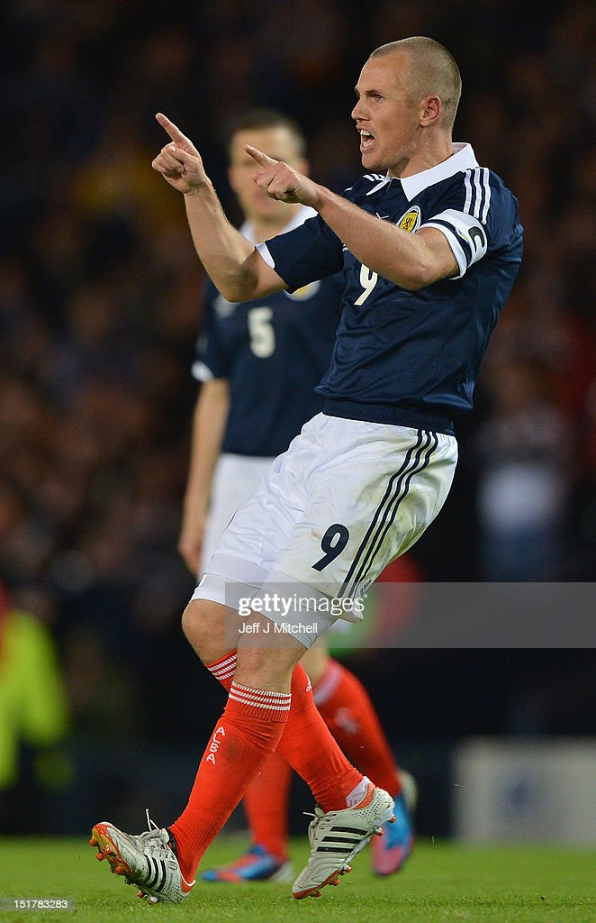 Kenny Miller of Scotland celebrates after scoring during the FIFA World Cup Qualifier Between Scotland and Macedonia at Hampden Park on September 11, 2012 in Glasgow, Scotland.